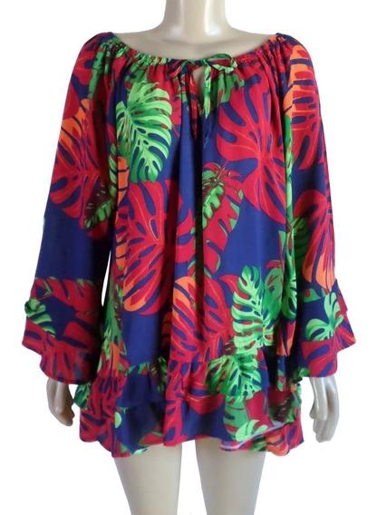 Blusa Bata Ciganinha Maria Henriqueta 3/4 Babado Azul Floral