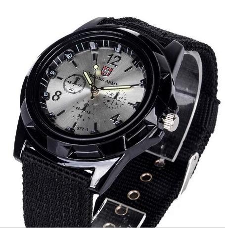 Relógio Pulso Moda Militar Pulseira Tecido Aço