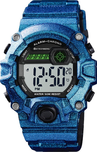 Reloj Stromberg Snap Sumergible Digital Azul Metalizdo