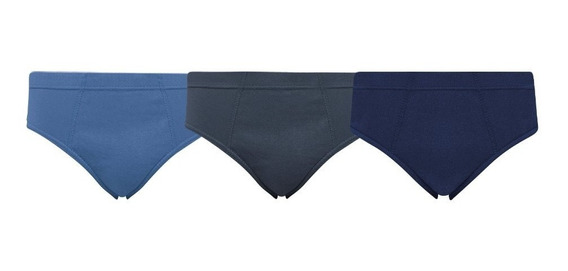 Cueca Slip Algodão 100% Elástico Embutido Kit Com 12 Unidade