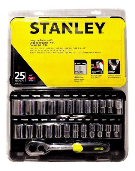 Jogo De Soquetes 10 A 22mm E 3/8 A 1. 1/16pol 25 Pçs Stanley
