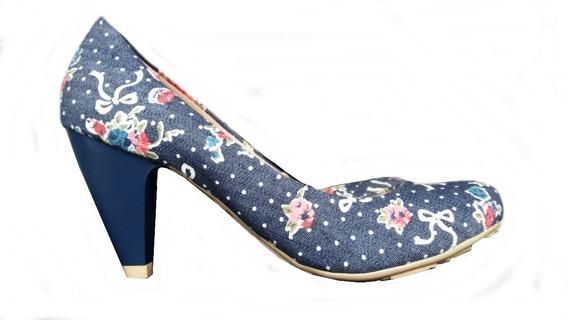 Sapato Boneca Jeans Salto Baixo 35
