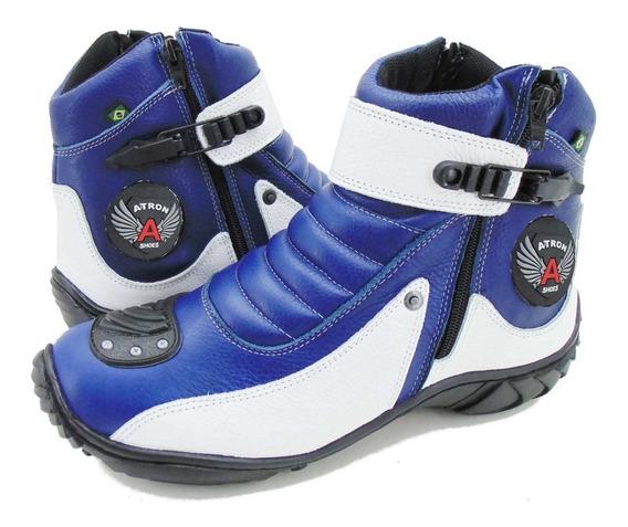 Coturno Motociclista Couro Atron Shoes 271 Azul/branco Top*