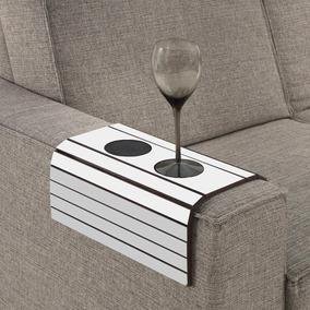 Esteira Para Braço De Sofá Com Porta Copos - Branco