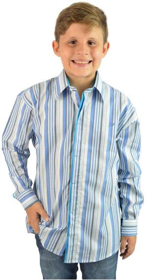 Camisa Social Infantil Listrada Três - Aproveite Já