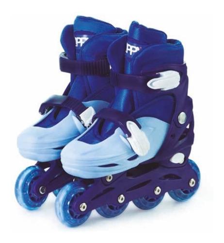 Roller Patins Infantil In Line Ajustável 30-33 Azul Menino