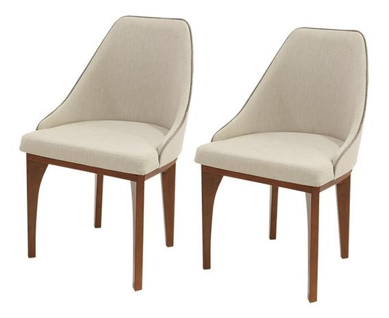Conjunto 2 Cadeiras De Jantar Diamantina Em Madeira Maciça
