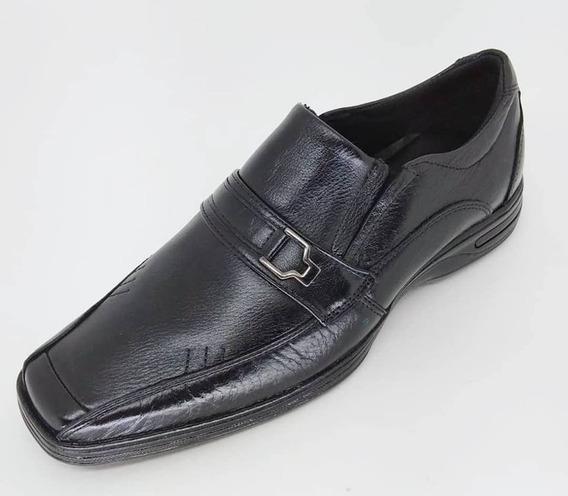 Sapato Social Castro Adulto Em Couro Ref 350 Vaqueta Preto