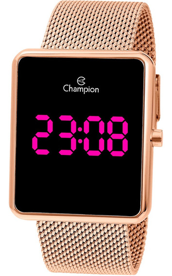 Relógio Champion Digital Quadrado Luz Pink Original Ch40080h