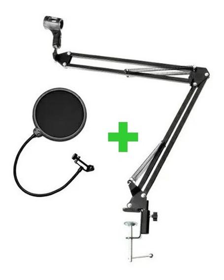 Pedestal Braço Articulado Com Pop Filter Kit Para Microfone