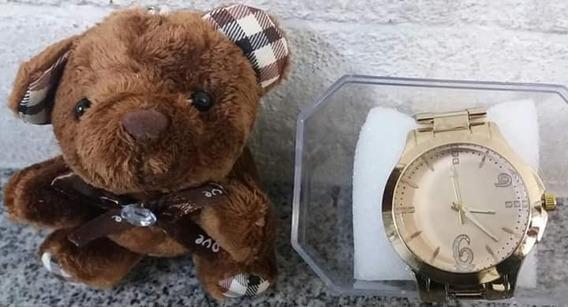 Relógio Feminino Dourado Aço Inox Analógico Kit Semi