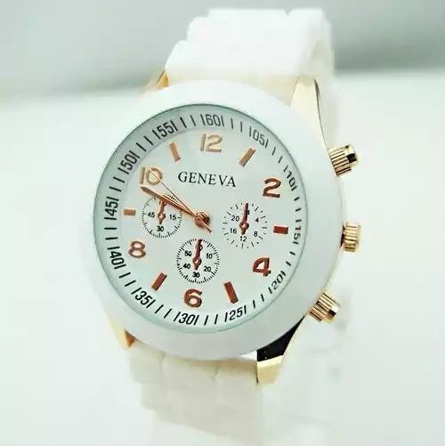 Relógio Geneva Branco Pulseira De Silicone - 4x Sem Juros