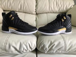 Tenis Air Jordan Retro 12 Black Metálic Gold 23.5mx De Dama