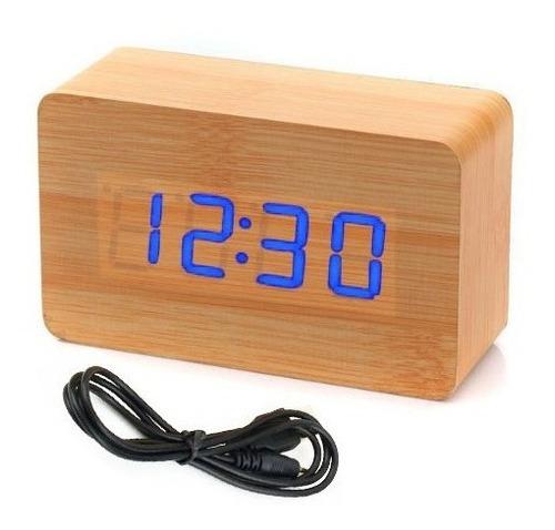 Relógio De Mesa Madeira Led Decoração Termometro Alarme