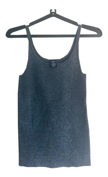 Remera Musculosa Brillante Azul Y Plateada Tipo Lúrex Gap