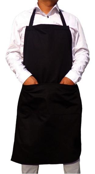Mandil Con Bolsas Color Negro, Gabardina, 100% Algodon