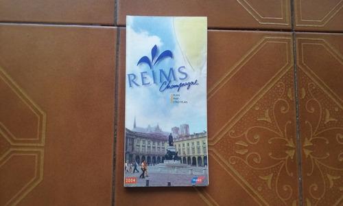 Plano De La Ciudad De Reims Champagne Francia Año 2004