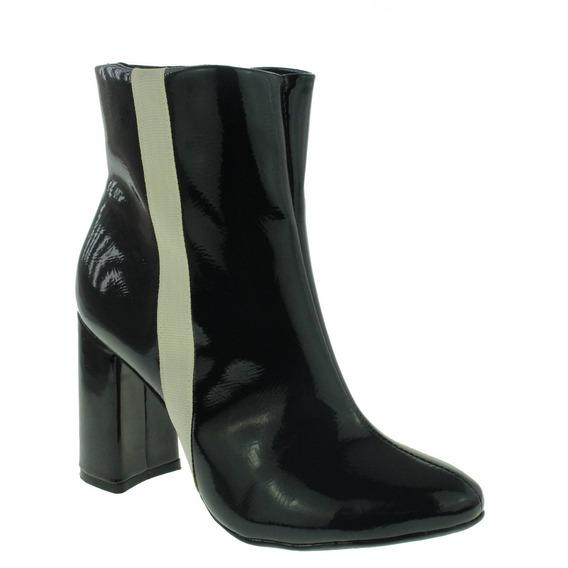 Bota Di Cristalli 3849189 Ankle Boot Feminina Preto Verniz
