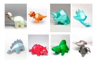 09 Arquivos De Dinossauros Fofos- Papercraft Low Poly