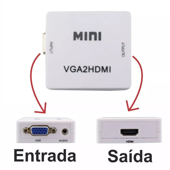 Conversor Adaptador Vga P/hdmi Com Saida Audio S Cabo P2 333
