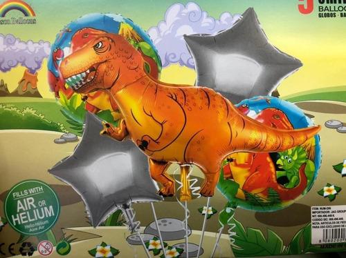 Set De Globos Metalizados X5 Dinosaurios