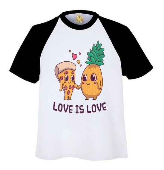 Playeras Ranglan Regalo 14 Febrero Piña Pizza Love Is Love A