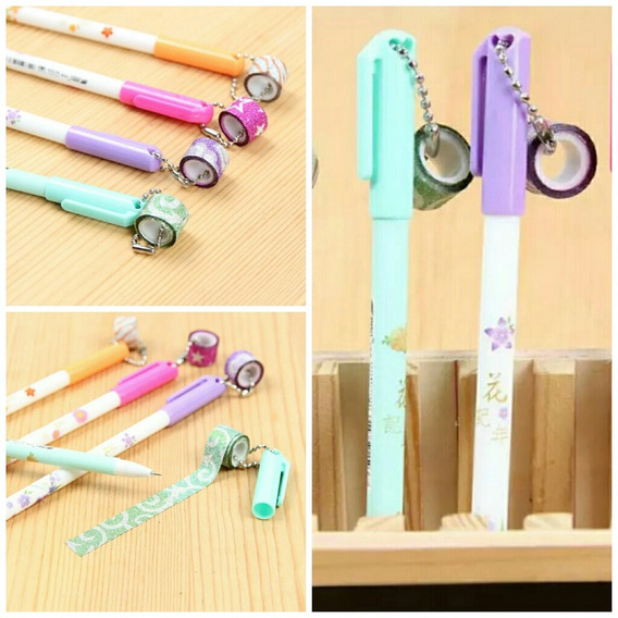Kit 3 Caneta Escolar Gel +3 Fita Washi Tape Glitter Promoção