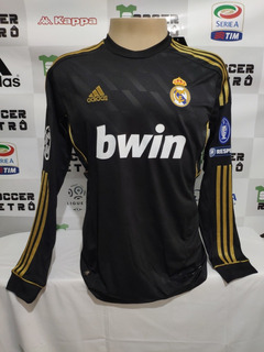 Camisa Real Madrid Preta 2011-12 Ronaldo 7 Manga Longa Ucl