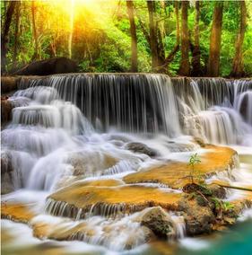 Fundo Fotográfico Tecido 3d Sol E Cachoeira 3,00m X 3,00m