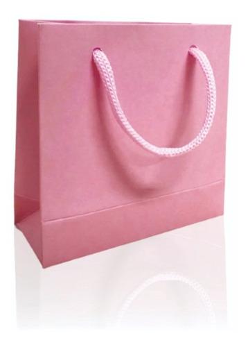 Sacola Papel Rosa Bebe 10x10x4 - 50 Un. Mini Extra Pequena