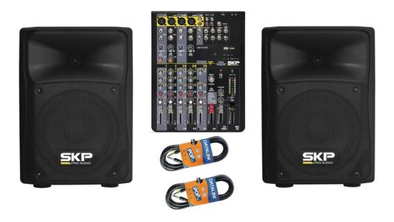 Kit 2 Ativa Skp Sk-1p Falante 8 + Mesa Skp Vz8.2 C/ Efeitos