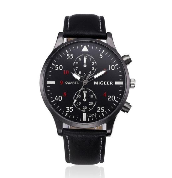 Relógio Masculino Social Pulseira Couro Luxo Original Migeer