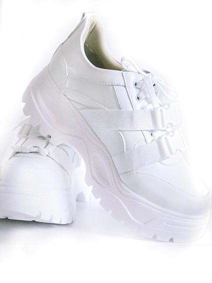 Tenis Casual Super Chunky Dad Sneaker Sola Alta Fivela Branco Lançamento 2020 Treino Caminhada Lindo Original 12x Frete