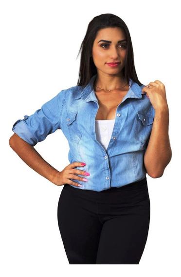 Camisa Blusa Jeans Escura Feminina Envio Imediato Novo V24