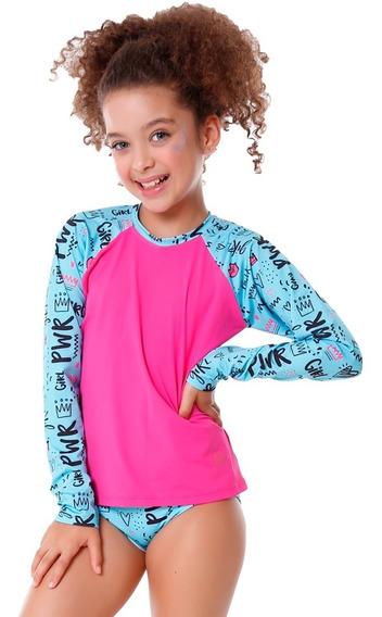 Conjunto Infantil De Blusa E Calcinha Girl Pwr Proteção Uv