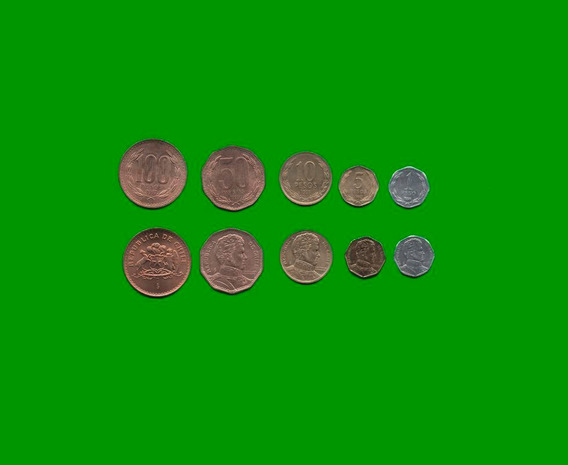 Monedas De Chile Serie De Cinco, $1, $5, $10, $50, $100.-