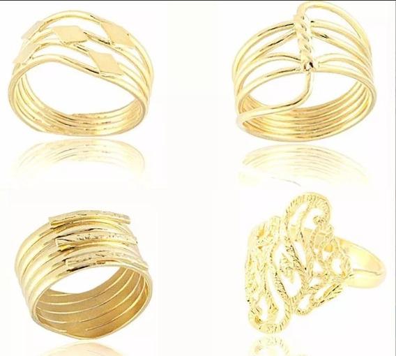 Kit Com 20 Lindos Anéis Folheados A Ouro Para Revender