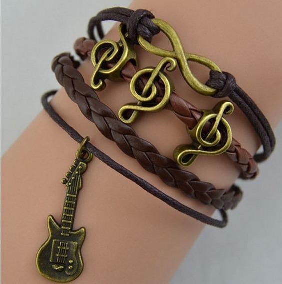 Pulseira Bracelete Nota Musical Guitarra Infinito Rock - 60