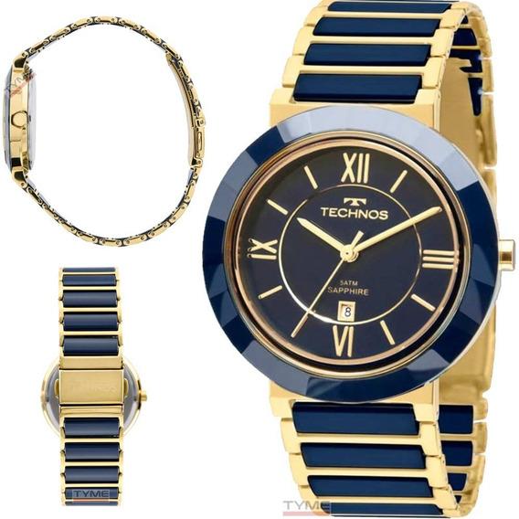 Relógio Technos Feminino Cerâmica Safira 40mm 2015bv/5a Nfe