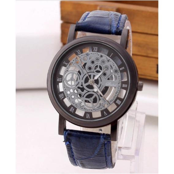Reloj Caballero Azul Marino Con Plateado