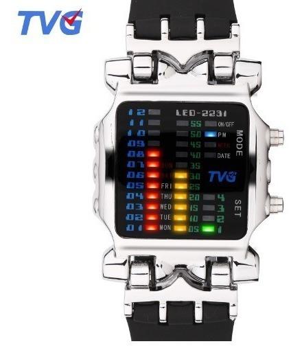 Relógio Tvg Masculino Prateado Led Digital Não A Prova Dágua