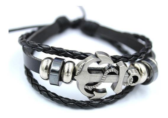 Pulseira Masculina Feminina Couro Âncora Navy Moda Bracelete