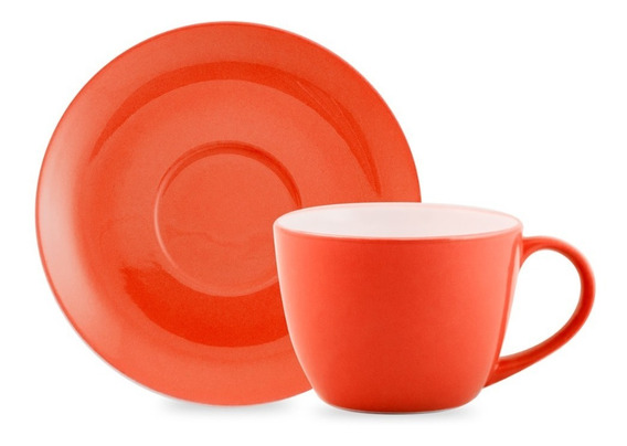 Set Tazas X6 Cafe Latte C Plato Colores Cafeteria