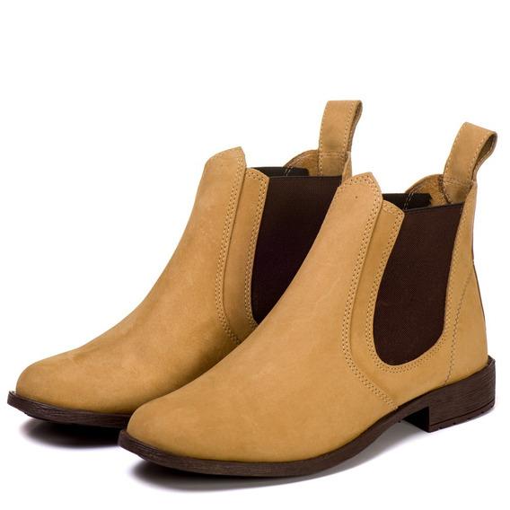 Bota Chelsea Boots Masculina Couro Camurça Legitima Outlet