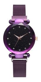Relógio Feminino Roxo Céu Estrelado Pulseira Magnética