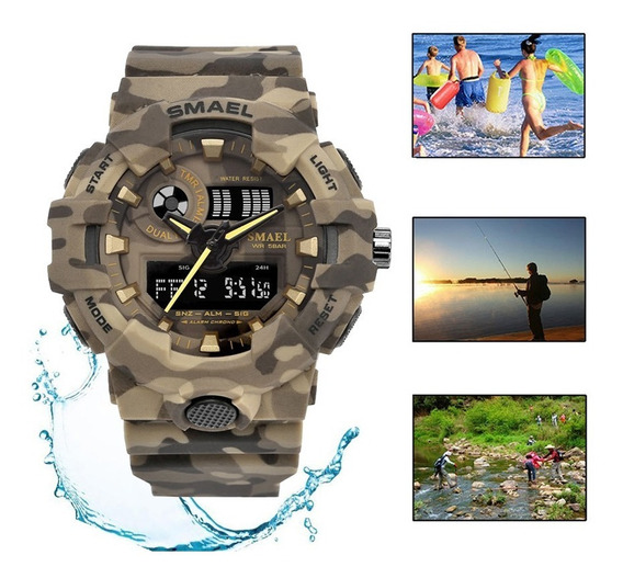 Camuflagem Militar Relógio Smael Cronômetro Sports Natação
