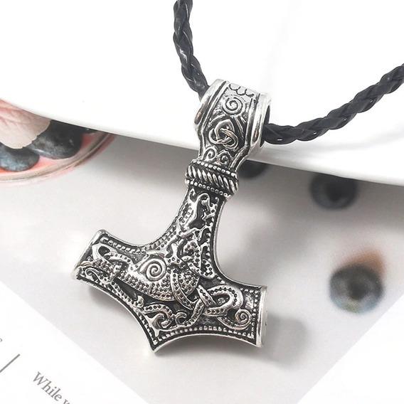 Colar Pingente Símbolo Nórdico Thor Mjolnir Deus Do Trovão