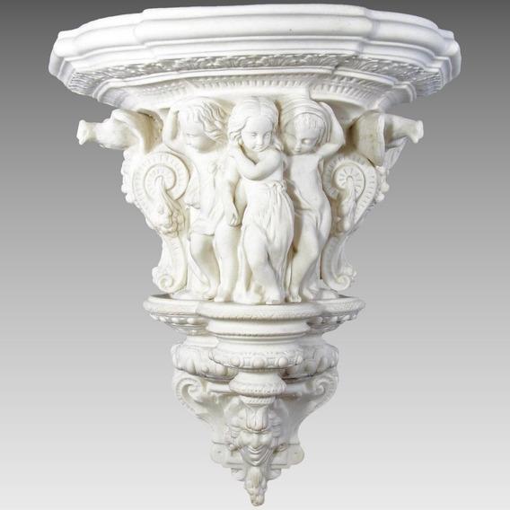 Antigua Repisa Victoriana Porcelana Parian Figuras Niños