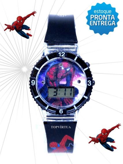 Relógio Homem Aranha Preto Digital Infantil Luz Som Original