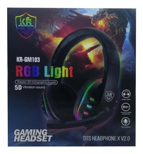 Diadema Audifono Gamer Rgb  Light Usb Microfono Gm103